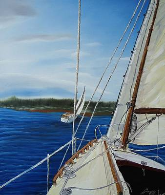 Cloudy Day Sailing Boats Art Print by Portland Art Creations