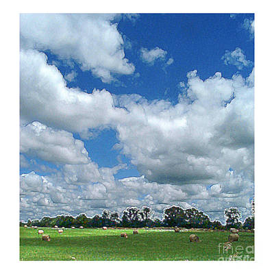 Cloudy Hay Field Art Print by CK Caldwell