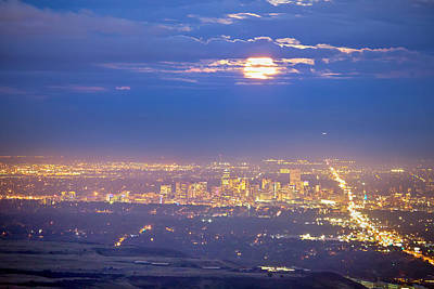 Bo Insogna Photograph - Cloudy Hazy Denver Colorado September Super Moon by James BO  Insogna