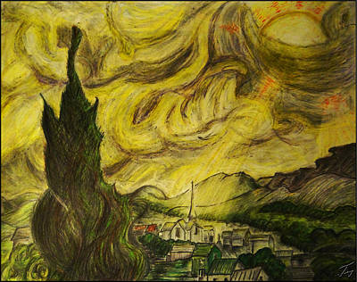 Provence Drawing - Cloudy Morning In Saint Remy De Provence After A Brilliant Starry Night by Jose A Gonzalez Jr