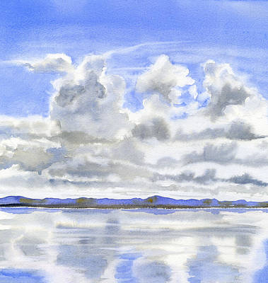 Blue Sky Painting - Cloudy Sky With Reflections by Sharon Freeman