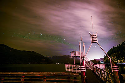 Cloudy Stars At Porteau Cove Provincial Park Art Print by Winson Tang