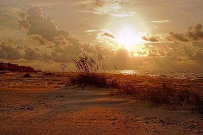 Digital Art - Cloudy Sunrise And Seaoat Beach by Michael Thomas