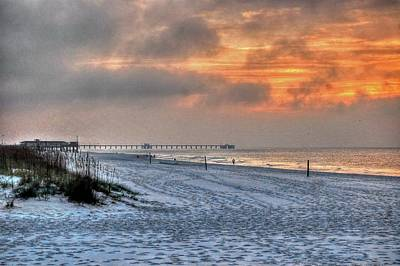 Pier Digital Art - Cloudy Sunrise On Gulf Shores Beach by Michael Thomas