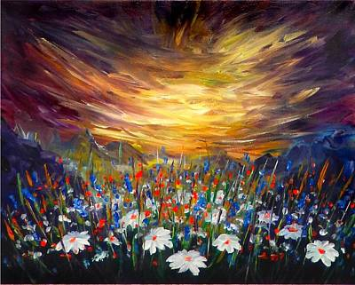 Red Flowers Painting - Cloudy Sunset In Valley by Lilia D