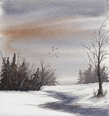 Nature Painting - Cloudy Winter Day by Rebecca Davis