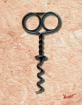 Merlot Mixed Media - Clough Single Wire Corkscrew Painting 2 by Jon Neidert