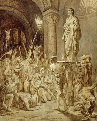 Clovis 465-511 Carried On His Shield Oil On Canvas Art Print