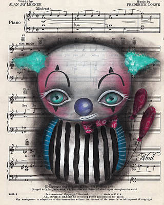 Pop Surrealism Painting - Clown #2 by Abril Andrade Griffith