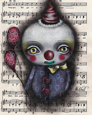 Pop Surrealism Painting - Clown #3 by  Abril Andrade Griffith