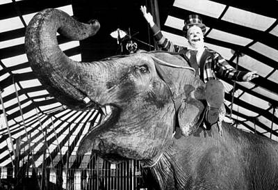 Clown Gets Elephant Ride Art Print
