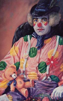 Painting - Clown In A Blue Scarf by Peter Jean Caley