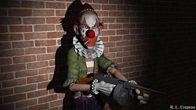Digital Art - Clown In The Spotlight by Robert Crepeau