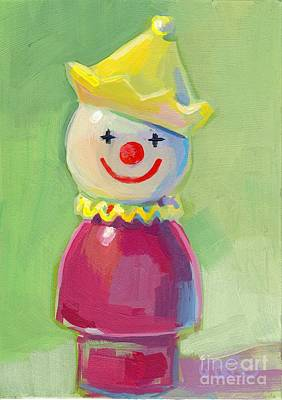 Vintage Circus Painting - Clown by Kimberly Santini