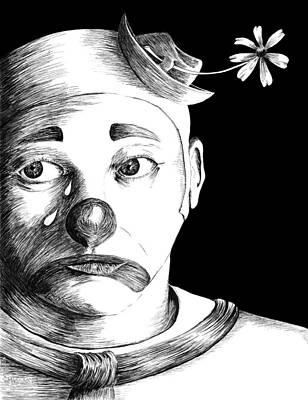 Drawing - Clown Of Tears by Carl Genovese