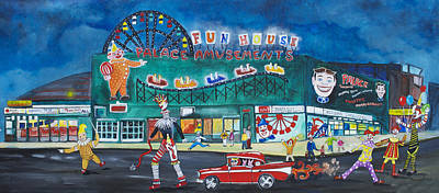 Asbury Park Painting - Clown Parade At The Palace by Patricia Arroyo