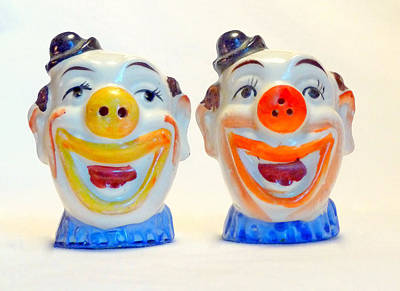 Fun Patterns - Vintage Clown Salt and Pepper Shakers by Jim Whalen
