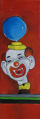 By Patricia Arroyo Painting - Clown With Blue Balloon by Patricia Arroyo