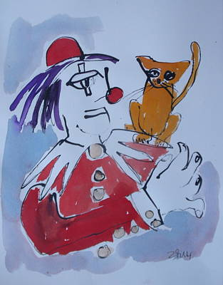 Clown With Cat Original by Sonja  Zeltner