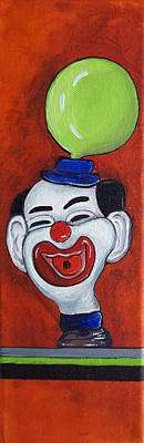 By Patricia Arroyo Painting - Clown With Green Balloon by Patricia Arroyo