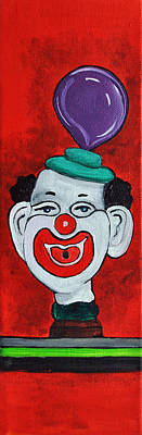 By Patricia Arroyo Painting - Clown With Purple Balloon by Patricia Arroyo