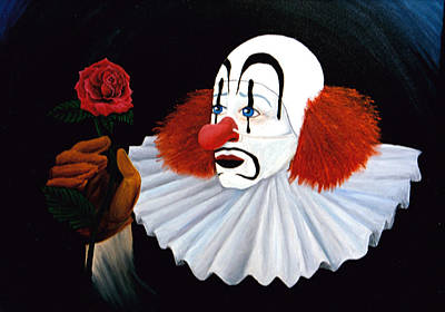 The Tramp Painting - Clown With Rose by Annette Redman