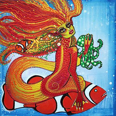 Clown Fish Painting - Clownfish Mermaid by Laura Barbosa
