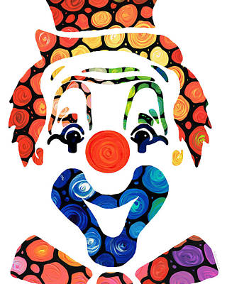 Clowns Painting - Clownin Around - Funny Circus Clown Art by Sharon Cummings