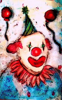 Creepy Mixed Media - Clownin' Around by Melissa Osborne