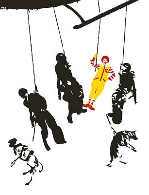 Mcdonalds Mixed Media - Clownin' Around by Sue Rowe