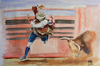 Rodeo Clown Painting - Clowning Around by Maria Luna