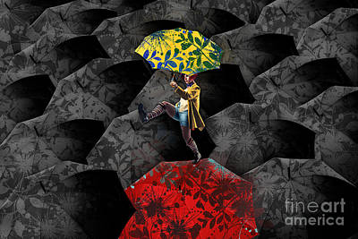 Umbrellas Digital Art - Clowning On Umbrellas 01 - C07c by Variance Collections
