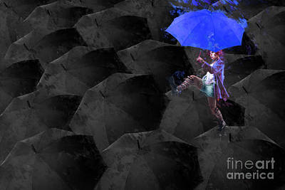 Neon Digital Art - Clowning On Umbrellas 02 - A02- Blue by Variance Collections
