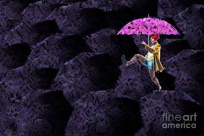 Neon Digital Art - Clowning On Umbrellas 02 - A08-purple by Variance Collections