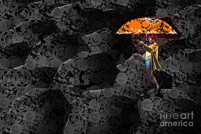 Orange Style Digital Art - Clowning On Umbrellas 02 -a10a by Variance Collections