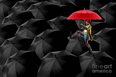 Charcoal Digital Art - Clowning On Umbrellas 02 -a13 by Variance Collections