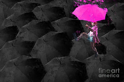 Neon Digital Art - Clowning On Umbrellas 03 - 02a12 by Variance Collections
