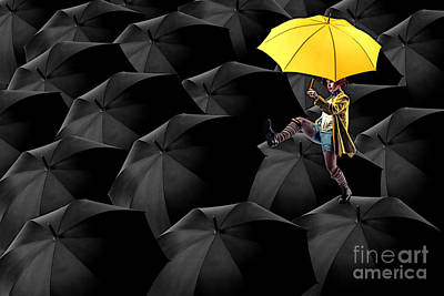 Neon Digital Art - Clowning On Umbrellas 03-a13-1 by Variance Collections