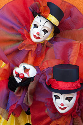Clown Pair Photograph - Clowns And The Mask by Zina Zinchik