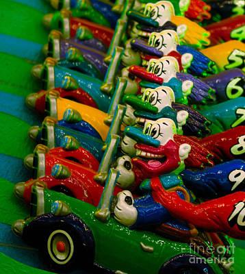 Clowns In Cars Amusement Park Game Art Print