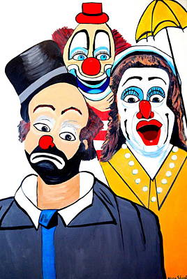 Art Print featuring the painting Clowns In Shock by Nora Shepley