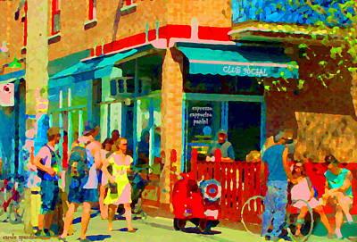 Montreal Cityscenes Painting - Club Social Sports Bar Rue St Viateur Et Esplanade Mile End Montreal Bistro Scene Carole Spandau by Carole Spandau