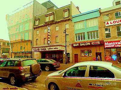 Montreal Memories. Painting - Club Soda  Bar Salon Midway Montreal Pool Room St Laurent Tavern Hotdog Resto City Scenes C Spandau by Carole Spandau