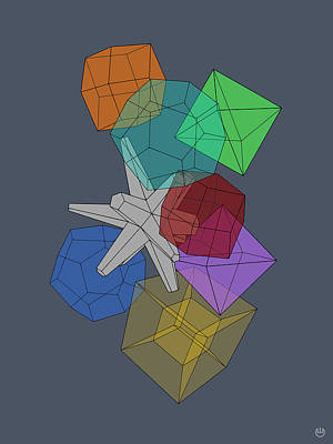 Dodecahedron Digital Art - Cluster Flux by Charles Emlen
