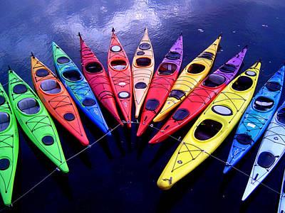 Clustered Kayaks Art Print