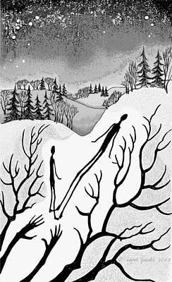 Snowscape Digital Art - Clutching Shadows by Carol Jacobs