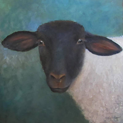 Painting - Clyde - A Suffolk Lamb Painting by Cheri Wollenberg