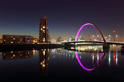 Photograph - Clyde Arc Cityscape Night Reflection by Grant Glendinning