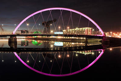 Photograph - Clyde Arc Night by Grant Glendinning