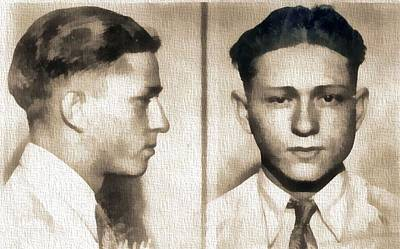 Great Mixed Media - Clyde Barrow Mug Shot by Dan Sproul